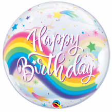 "Birthday Rainbow Unicorns Bubble Balloon (22"") 1pc"